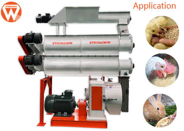 Gear Drive Feed Pellet Machine / Two Layer Conditioners Animal Poultry Feed Making Machine